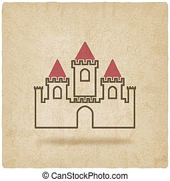 castle with towers symbol old background