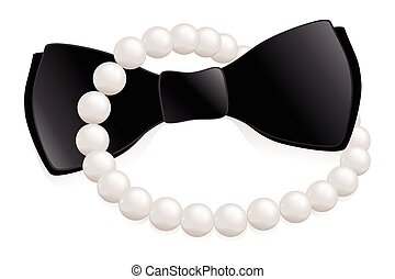 Pearls and bow tie - Pearl necklace and bow tie, a his and...