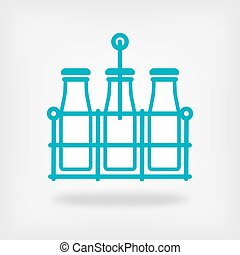 milk bottles in basket on white background