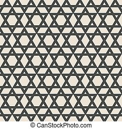 six-pointed star monochrome seamless pattern vector...