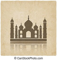 Taj Mahal on old background vector illustration - eps 10