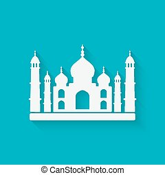 Taj Mahal on blue background. vector illustration - eps 10