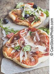 prosciutto, mini, pizza,