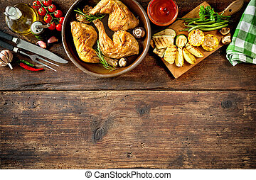 Grilled chicken legs with vegetables