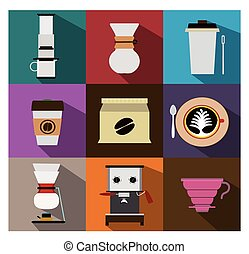 Coffee Icons vector - Coffee shop Icons vector