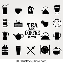 Vector Set of  Black Coffee and Tea Icons.