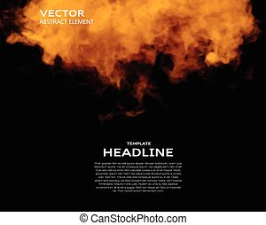 Vector illustration of fire elements on black Use it as a...