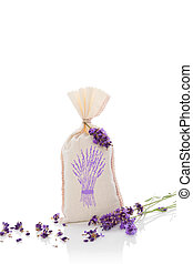Lavender aromatherapy. Lavender herbs and bag with dry...