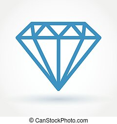 Diamond icon - Flat style abstract blue diamond icon with...