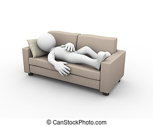 3d man sleeping on couch - 3d rendering of tired and...