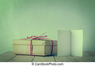 Simple Raffia Tied Gift Box with Blank Open Card - A gift...