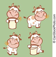 Funny Cow  - Funny cow with milk bucket