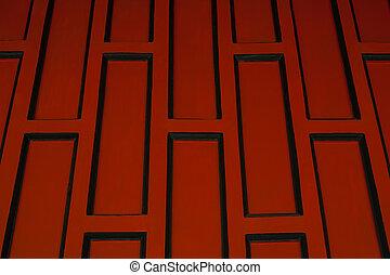 Red retro wood paneling. - Red retro wood paneling, Shooting...