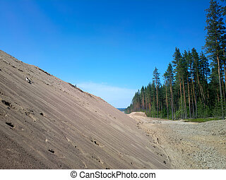 huge pile of sand for road construction