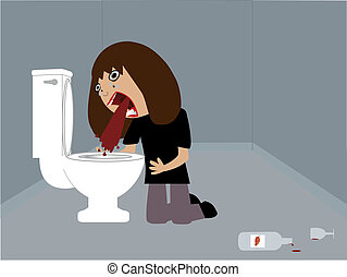 Vomiting - A drunk woman vomiting after drinking too much...