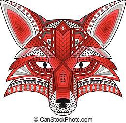 Patterned stylized silhouette of head fox on a light...