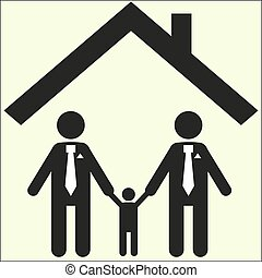 gay family icon sexual orientation sign white background