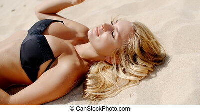 Spending Time on The Beach - Blond Girl Spending Time on The...