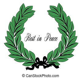 Rest In Peace Wreath and Ribbon - A wreath with ribbon with...