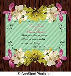 Floral invitation card with beautiful spring flowers and banner style. Perfect for wedding, greeting or invitation design.