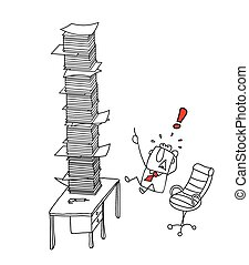overworked Joe - Joe is in front of a stack of paper on his...