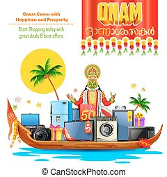 Happy Onam sale offer - illustration of electronics sale and...