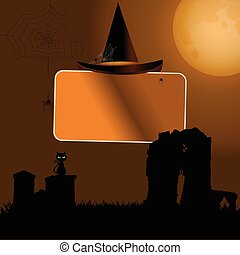 Halloween sign with hat background