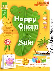 Onam Sadya sale background - illustration of King Mahabali's...