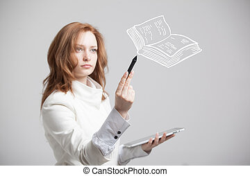 woman drawing a book - young woman drawing a book