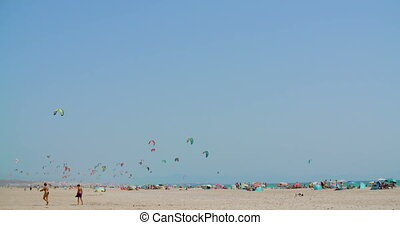 Crowded Beach with Kite Surfers - Crowdy Beach with Kite...