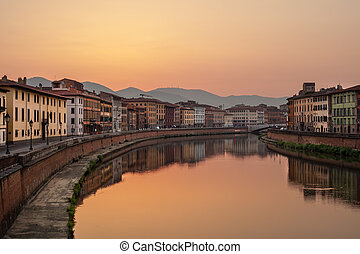 Sunrise on Arno River. - Sunrise on Arno River, Pisa,...
