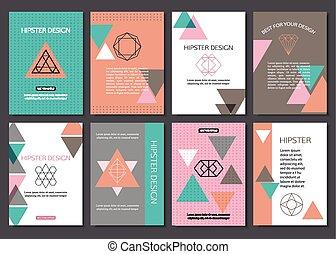 デザイン, セット, ポスター, カラフルである, フライヤ, 型, テキスト, 三角, 創造的, プラカード,...
