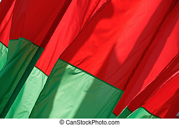 Red-green flags - Abstract of the fabric. Red-green flags...