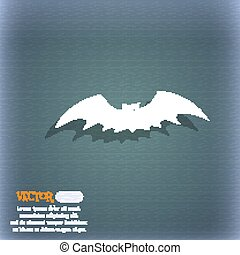 bat icon symbol on the blue-green abstract background with shadow and space for your text. Vector