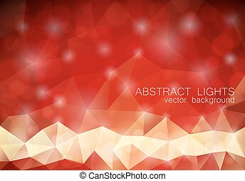 Red triangle geometrical background with lights
