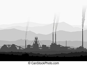 Mineral fertilizers plant over huge mountains Detail vector...