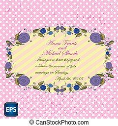Wedding invitation with flowers for your design. Vector.