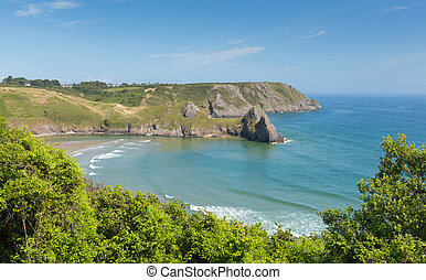 Three Cliff Bay The Gower Wales uk - Three Cliffs Bay south...