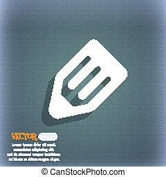 pencil icon symbol on the blue-green abstract background...