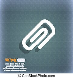 clip to paper icon symbol on the blue-green abstract background with shadow and space for your text. Vector