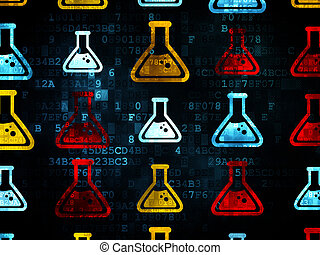 Science concept: Flask icons on Digital background - Science...