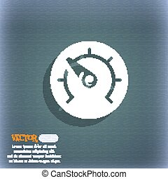 speed, speedometer icon symbol on the blue-green abstract background with shadow and space for your text. Vector