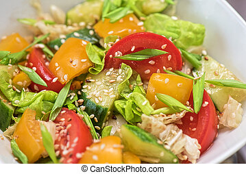 Bulgarian salad from pepper, cucumbers, tomato, green onion...