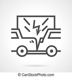 Car insurance sign line vector icon
