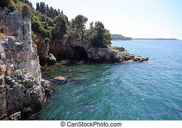 cliff coast - beautiful cliff coast on croatian adria sea