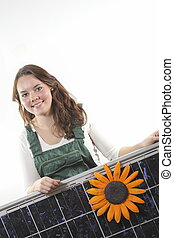 girl with solar panel - Young woman with a solar...
