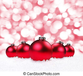 Holiday Bulbs With Sparkling Background - Festive Christmas...