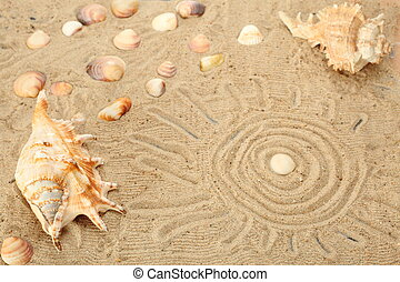 sun symbol - symbolic holydays with mussels and sand