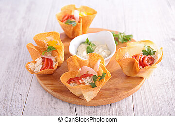 finger food with cheese cream
