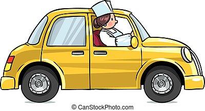 Shop assistant on a car